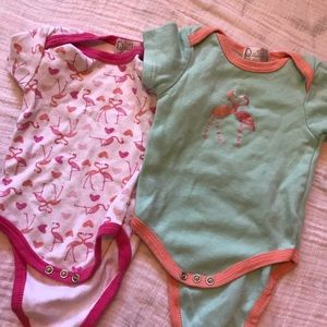 Other - ✨3 for 20✨ 2 Baby flamingo onesies • 6-9M
